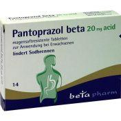 Pantoprazol beta 20mg acid magensaftresist. Tabl.